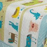 Kit: 1 Cobre-leito Solteiro Kids Bouti de Microfibra PatchWork Ultrasonic + 1 Porta-travesseiro - Sítio Azul - Dui Design