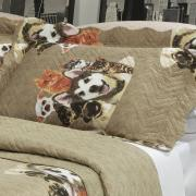 Kit: 1 Cobre-leito Casal Bouti de Microfibra Ultrasonic Estampada + 2 Porta-travesseiros - Smart Pets - Dui Design