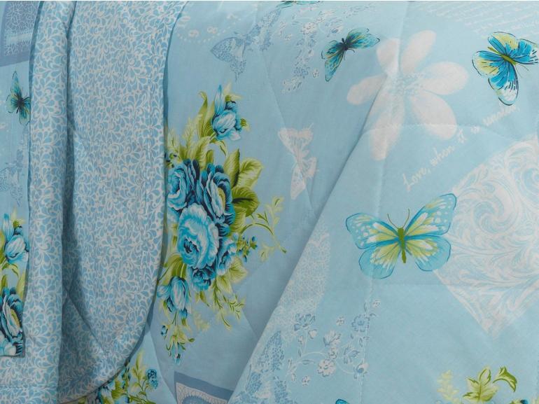 Kit: 1 Cobre-leito Solteiro + 1 Porta-travesseiro 150 fios - Só Love Azul - Dui Design