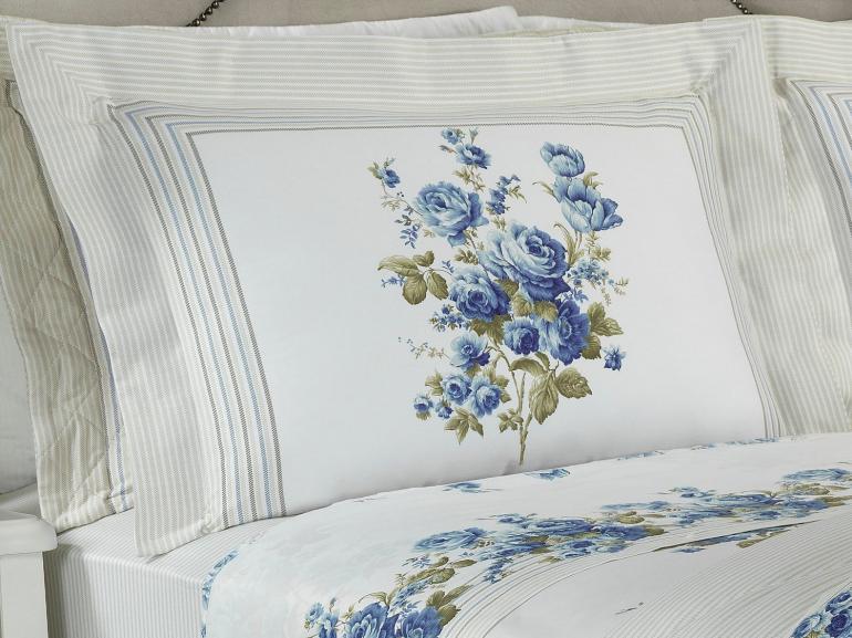 Jogo de Cama Queen Cetim 300 fios - Sofia Azul - Dui Design