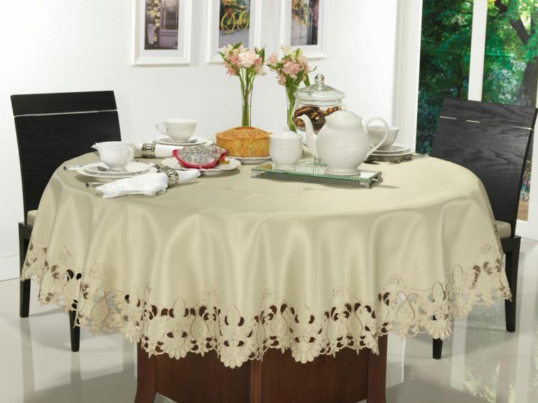 Toalha de Mesa com Bordado Richelieu Redonda 180cm - Sofia Caqui - Dui Design