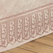 Saia para cama Box Matelassada com Bordado Inglês King - Sofia Rosa Velho - Dui Design