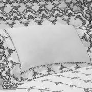 Jogo de Cama Queen Cetim de Algodão 300 fios com Bordado Inglês - Sofisticata Branco e Preto - Dui Design