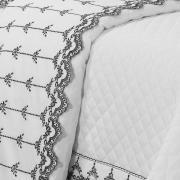 Jogo de Cama King Cetim de Algodão 300 fios com Bordado Inglês - Sofisticata Branco e Preto - Dui Design