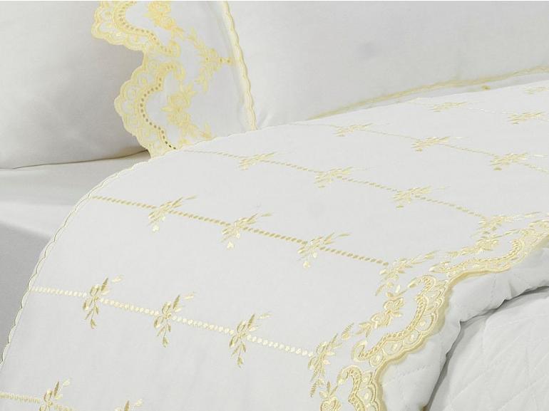 Jogo de Cama Casal Cetim de Algodão 300 fios com Bordado Inglês - Sofisticata Branco e Vanilla - Dui Design