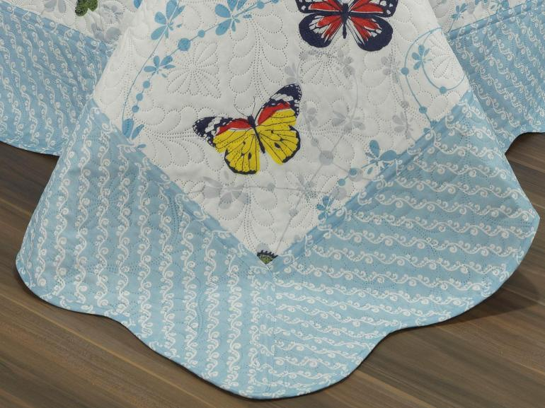 Kit: 1 Cobre-leito Solteiro Bouti de Microfibra Ultrasonic Estampada + 1 Porta-travesseiro - Sole Azul - Dui Design