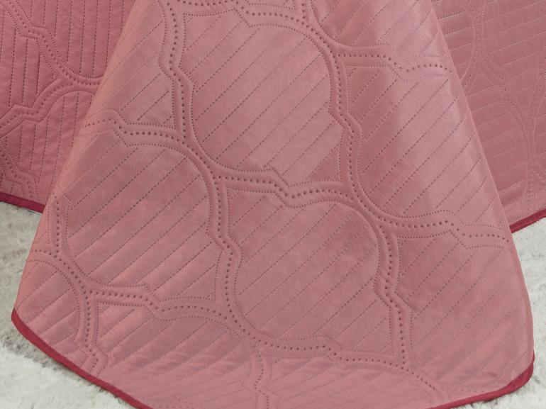 Kit: 1 Cobre-leito Casal Bouti de Microfibra Ultrasonic + 2 Porta-travesseiros - Soul Rosa Velho - Dui Design
