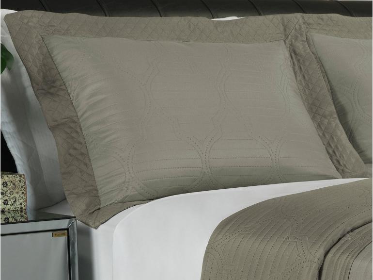 Kit: 1 Cobre-leito Casal Bouti de Microfibra Ultrasonic + 2 Porta-travesseiros - Soul Taupe - Dui Design