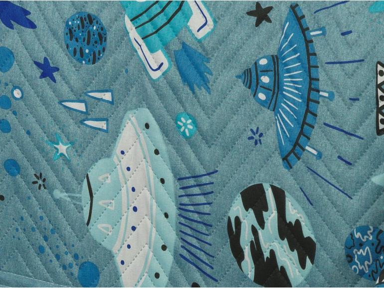 Kit: 1 Cobre-leito Solteiro Kids Bouti de Microfibra PatchWork Ultrasonic + 1 Porta-travesseiro - Space Azul - Dui Design