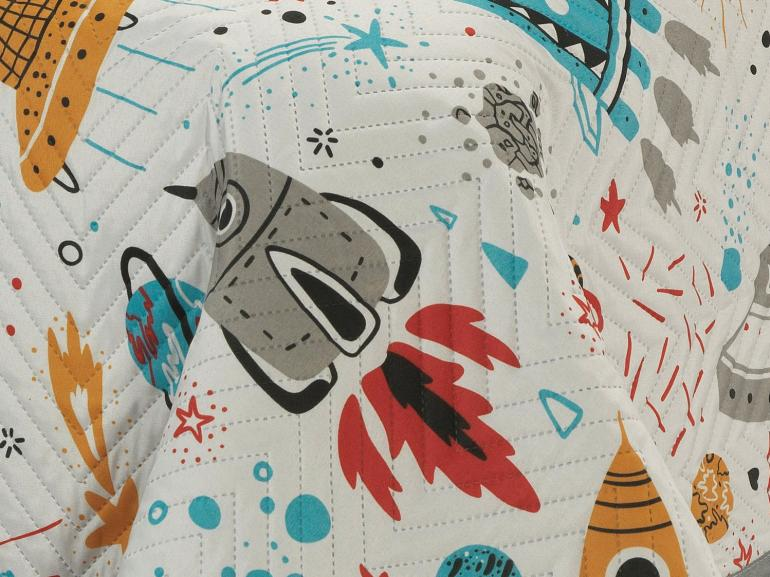 Kit: 1 Cobre-leito Casal Kids Bouti de Microfibra PatchWork Ultrasonic + 2 Porta-travesseiros - Space Cinza - Dui Design