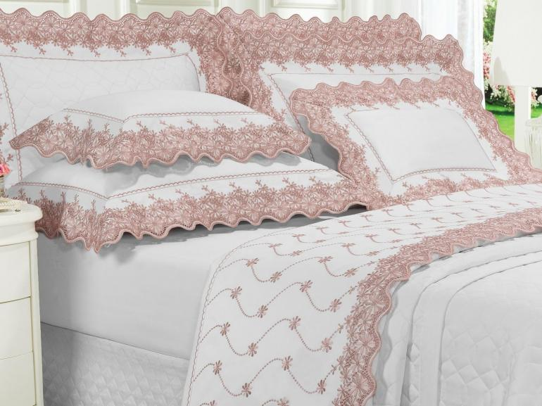 Jogo de Cama Queen Cetim de Algodão 1.000 fios com Bordado Inglês - Spring Rosa Velho - Dui Design