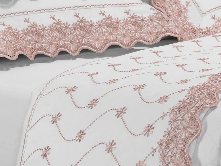 Kit: 1 Cobre-leito King + 2 porta-travesseiros Cetim de Algodão 1.000 fios com Bordado Inglês - Spring Rosa Velho - Dui Design