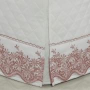 Saia para cama Box Matelassada com Bordado Inglês Casal - Spring Rosa Velho - Dui Design