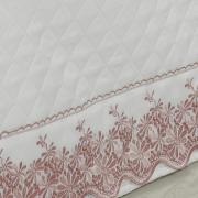 Saia para cama Box Matelassada com Bordado Inglês Solteiro - Spring Rosa Velho - Dui Design