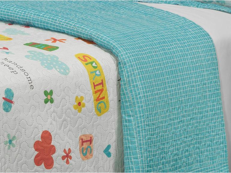 Kit: 1 Cobre-leito Solteiro Kids Bouti de Microfibra PatchWork Ultrasonic + 1 Porta-travesseiro - Spring - Dui Design
