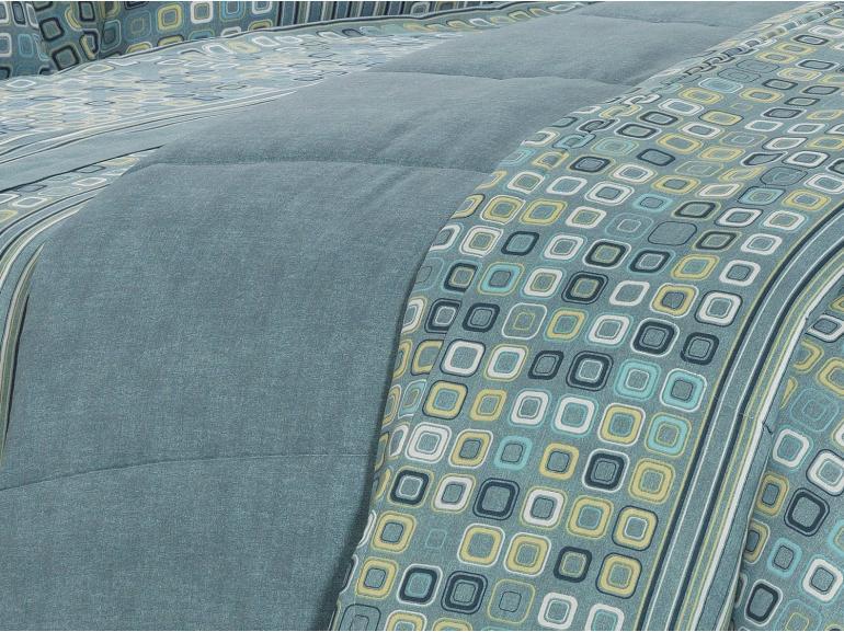 Enxoval Casal com Edredom 5 peças 150 fios - Square Azul - Dui Design