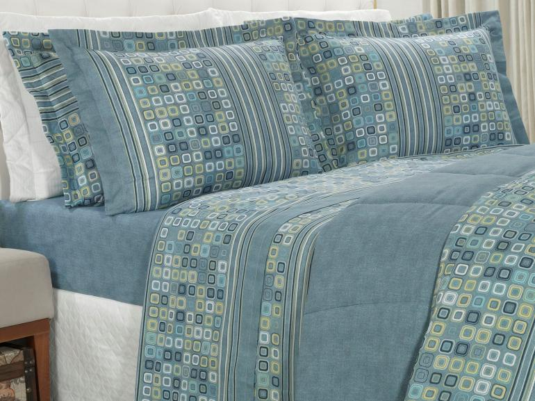 Jogo de Cama Casal 150 fios - Square Azul - Dui Design
