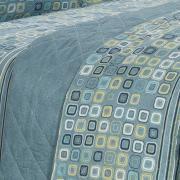 Kit: 1 Cobre-leito Casal + 2 Porta-travesseiros 150 fios - Square Azul - Dui Design