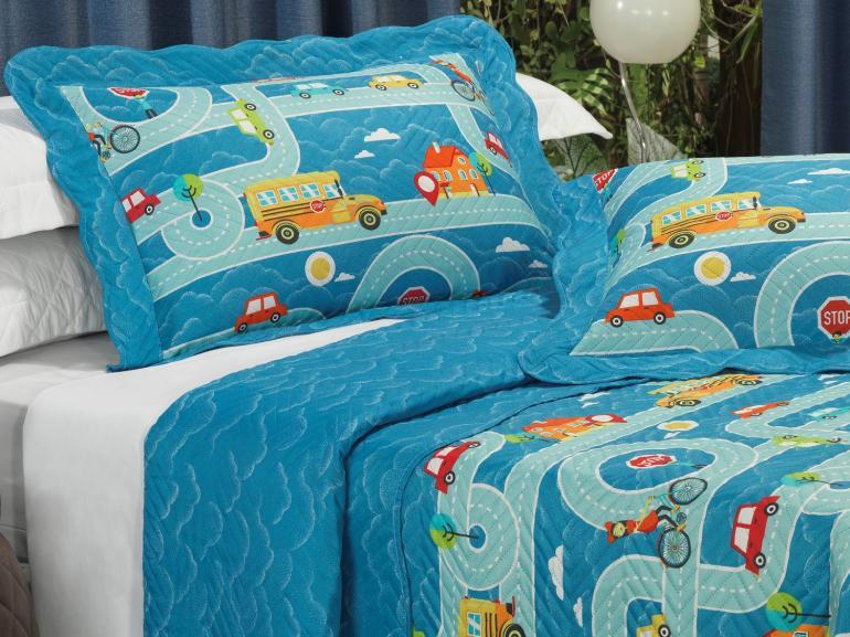 Kit: 1 Cobre-leito Solteiro Kids Bouti de Microfibra PatchWork Ultrasonic + 1 Porta-travesseiro - Stop Azul - Dui Design