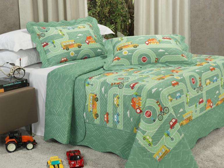 Kit: 1 Cobre-leito Casal Kids Bouti de Microfibra PatchWork Ultrasonic + 2 Porta-travesseiros - Stop Verde - Dui Design
