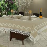Toalha de Mesa com Bordado Richelieu Retangular 6 Lugares 160x220cm - Sublime Bege - Dui Design