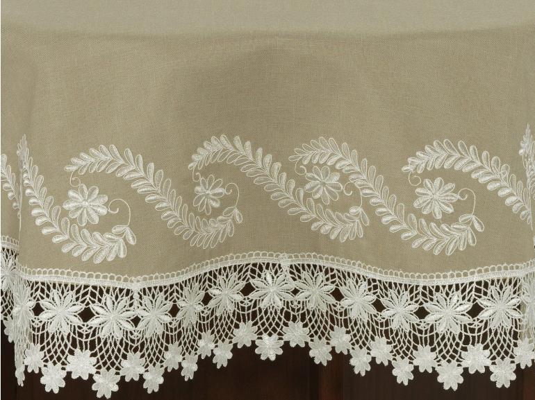 Toalha de Mesa com Bordado Richelieu Redonda 180cm - Sublime Bege - Dui Design