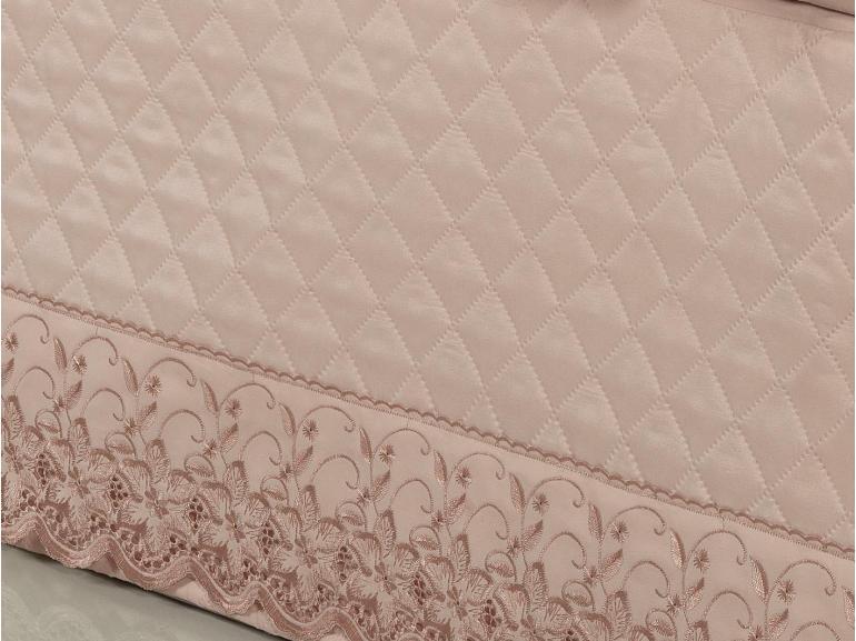 Saia para cama Box Matelassada com Bordado Inglês Queen - Sublime Rosa Velho - Dui Design