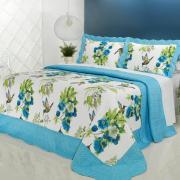 Kit: 1 Cobre-leito Casal Bouti de Microfibra Ultrasonic Estampada + 2 Porta-travesseiros - Suelen Azul - Dui Design