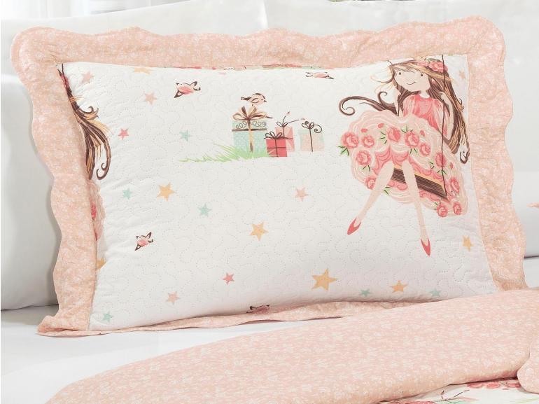 Kit: 1 Cobre-leito Solteiro Kids Bouti de Microfibra PatchWork Ultrasonic + 1 Porta-travesseiro - Surpresa Rosa - Dui Design