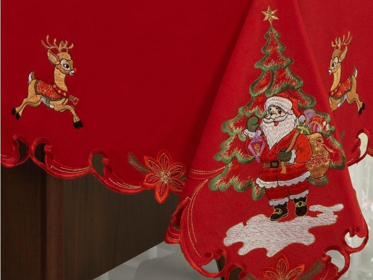 Toalha de Mesa Natal com Bordado Richelieu Quadrada 4 Lugares 160x160cm - Surpresa Vermelho - Dui Design