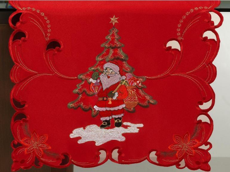 Trilho de Mesa Natal com Bordado Richelieu 45x170cm Avulso - Surpresa Vermelho - Dui Design