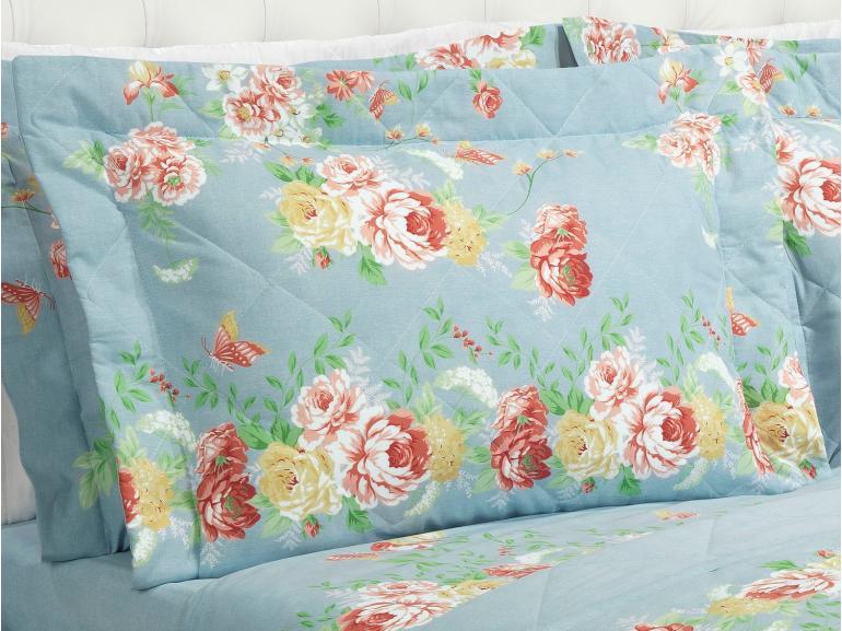Kit: 1 Cobre-leito Casal + 2 Porta-travesseiros 150 fios - Suzan Azul - Dui Design