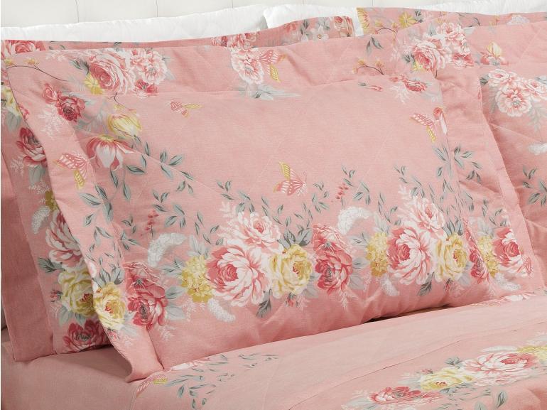 Kit: 1 Cobre-leito Queen + 2 Porta-travesseiros 150 fios - Suzan Rosa Velho - Dui Design