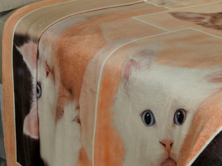 Cobertor Avulso Casal Flanelado com Estampa Digital 280 gramas/m² - Sweet Cats - Dui Design