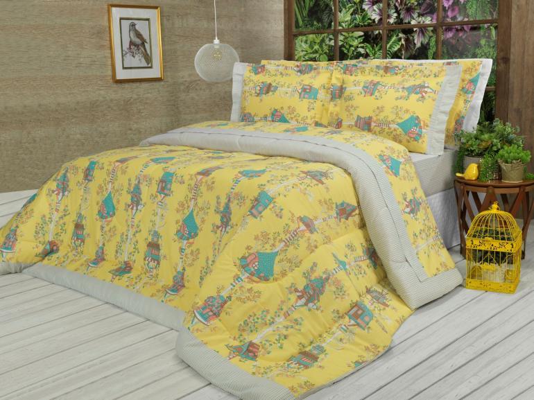 Jogo de Cama Queen 150 fios - Sweet Home Amarelo - Dui Design