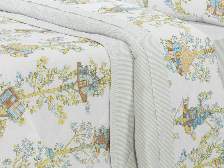 Kit: 1 Cobre-leito King + 2 Porta-travesseiros 150 fios - Sweet Home Azul - Dui Design