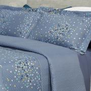 Kit: 1 Cobre-leito Casal Bouti de Microfibra Ultrasonic Estampada + 2 Porta-travesseiros - Talbot Indigo - Dui Design
