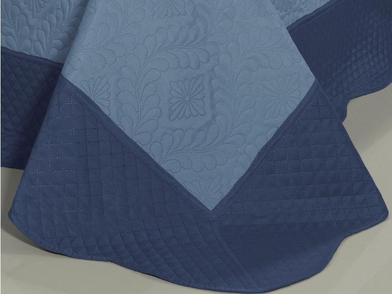 Kit: 1 Cobre-leito Casal Bouti de Microfibra Ultrasonic + 2 Porta-travesseiros - Talin Indigo - Dui Design