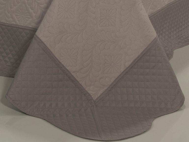 Kit: 1 Cobre-leito Casal Bouti de Microfibra Ultrasonic + 2 Porta-travesseiros - Talin Noz Moscada - Dui Design