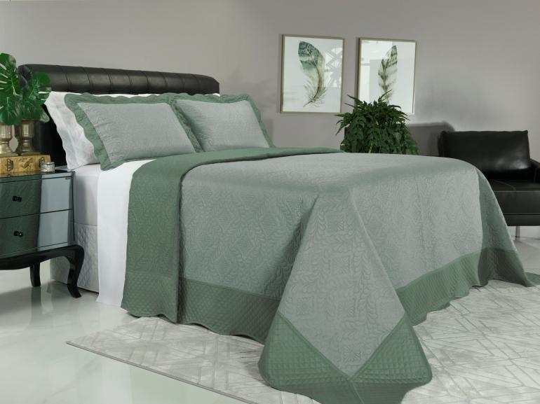 Kit: 1 Cobre-leito King Bouti de Microfibra Ultrasonic + 2 Porta-travesseiros - Talin Verde Confrei - Dui Design