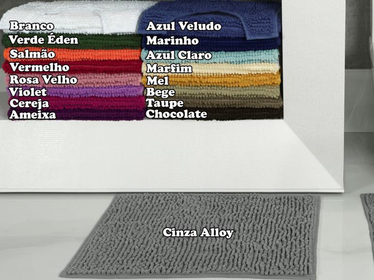 Jogo de 1 Tapete 40x60cm + 1 Tapete para Vaso 40x40cm de Microfibra Antiderrapante 850gramas/m² - Polka - Dui Design