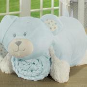 Kit: 1 Cobertor Baby Pele de Carneiro Sherpa + 1 Almofada Baby Kids de Bichinhos - Ted Azul Sherpa - Dui Design
