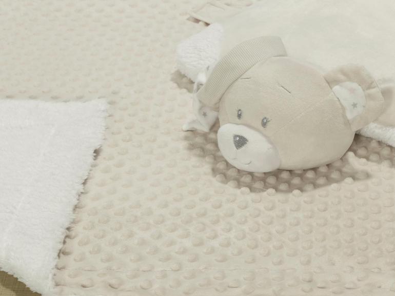 Kit: 1 Cobertor Baby Pele de Carneiro Sherpa + 1 Almofada Baby Kids de Bichinhos - Ted Bege Sherpa - Dui Design