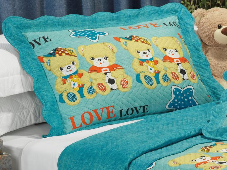 Kit: 1 Cobre-leito Casal Kids Bouti de Microfibra PatchWork Ultrasonic + 2 Porta-travesseiros - Teddy Love Azul - Dui Design