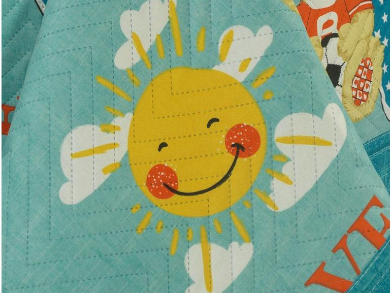 Kit: 1 Cobre-leito Solteiro Kids Bouti de Microfibra PatchWork Ultrasonic + 1 Porta-travesseiro - Teddy Love Azul - Dui Design