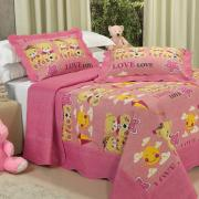 Kit: 1 Cobre-leito Solteiro Kids Bouti de Microfibra PatchWork Ultrasonic + 1 Porta-travesseiro - Teddy Love Rosa - Dui Design