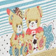 Kit: 1 Cobre-leito Solteiro Kids Bouti de Microfibra PatchWork Ultrasonic + 1 Porta-travesseiro - Teddy Love Vintage - Dui Design