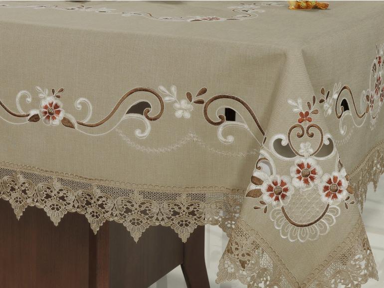 Toalha de Mesa com Bordado Richelieu Quadrada 4 Lugares 160x160cm - Teresa Bege - Dui Design