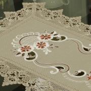 Trilho de Mesa com Bordado Richelieu 40x85cm Avulso - Teresa Bege - Dui Design