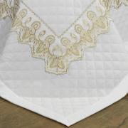 Jogo de Cama Queen Percal 200 fios com Bordado Inglês - Tirreno Branco e Caqui - Dui Design